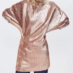 Zara Pleated Rose Gold Sequin Dress